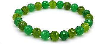 Bracciale in Olivina (Peridoto) e Agata Verde, Pietre Dure Naturali, Elastico 19 cm, Fatto a Mano