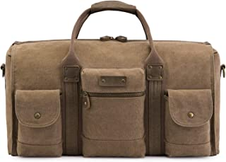 HYXADLY Europe and The United States Wind Large Capacity Travel Bag Canvas Duffel Bag Portable Diagonal Men's Bag Moving Bag Custom (Color : Khaki)