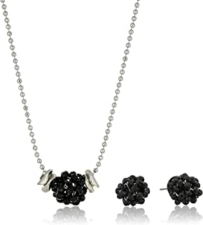 Kenneth Cole Woven Ball Necklace and Earring Set, Jet, One Size