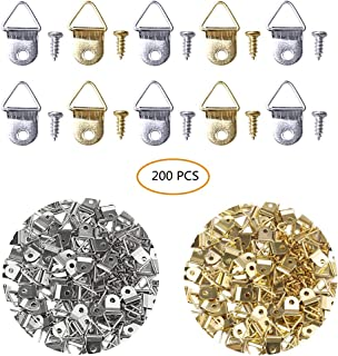 SUMAJU 200 Pack Triangle Ring Picture Hangers,Single Hole Picture Hanger with Screws Frame Hanging for Home Picture Hang Solutions (Silver+Gold)