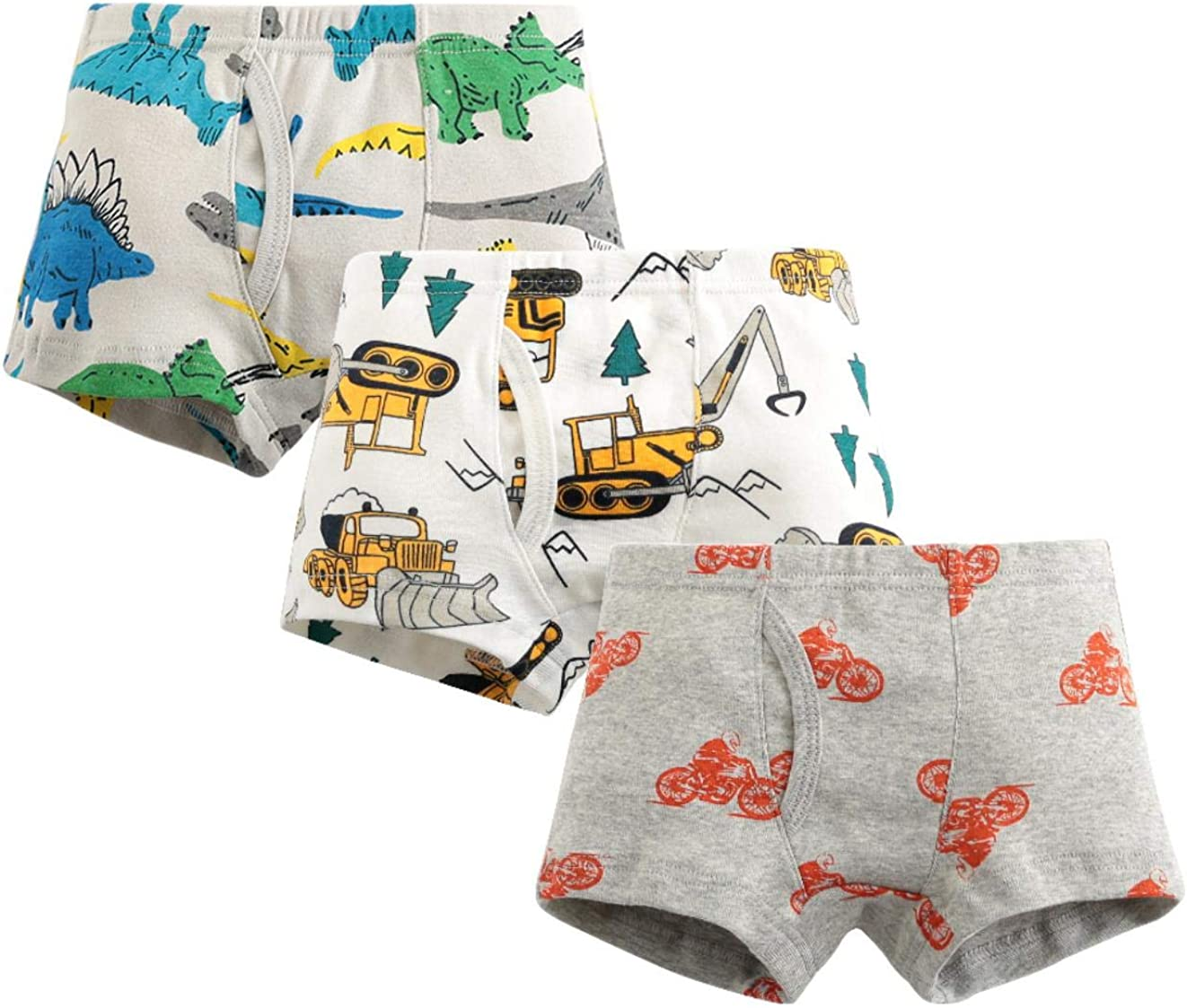 MIMY Boys Soft Cotton Boxer Briefs Toddler Kids Baby Underwear Dinosaur Truck Training Panty 3 Pack 3-10Y White