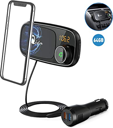 Bluetooth FM Transmitter with Car Holder, QC 3.0 Wireless FM Radio Adapter MP3 Music Player Support 64GB TF Card, Dual USB Bluetooth Cigarette Lighter Car Charger, 1M Cable, Magnetic Holder