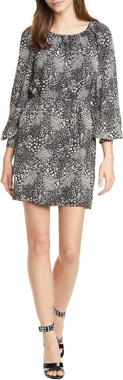 Joie Womens Black Animal Print Jewel Neck Mini Dress Size XS