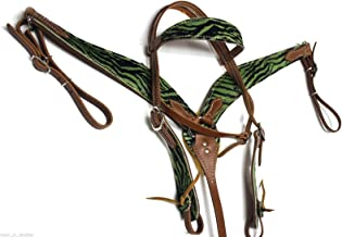 Western Green Headstall Bridle Breast Collar Leather Horse Tack Set