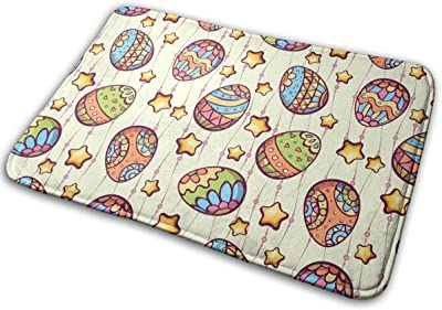 Easter Cartoon Color Eggs Carpet Non-Slip Welcome Front Doormat Entryway Carpet Washable Outdoor Indoor Mat Room Rug 15.7 X 23.6 inch