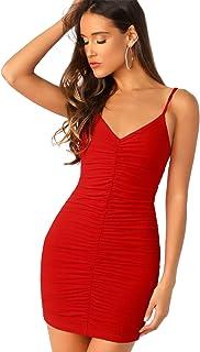 SheIn Women's Ruched V Neck Cami Dress Backless Sleeveless Stretchy Bodycon Mini Dress