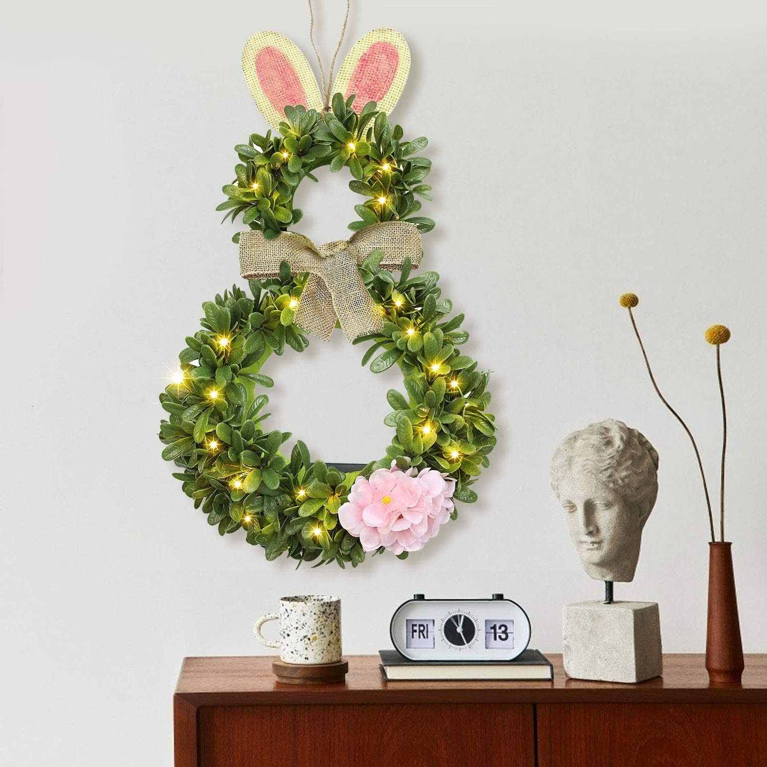 Remon Pre-lit Easter Wreath Bunny with Timer 11x20 Inch Hanging Easter Wreath for Front Door Lighted Wreath with 20 LED Lights Mixed Decorations with Fake Flowers Battery Operated