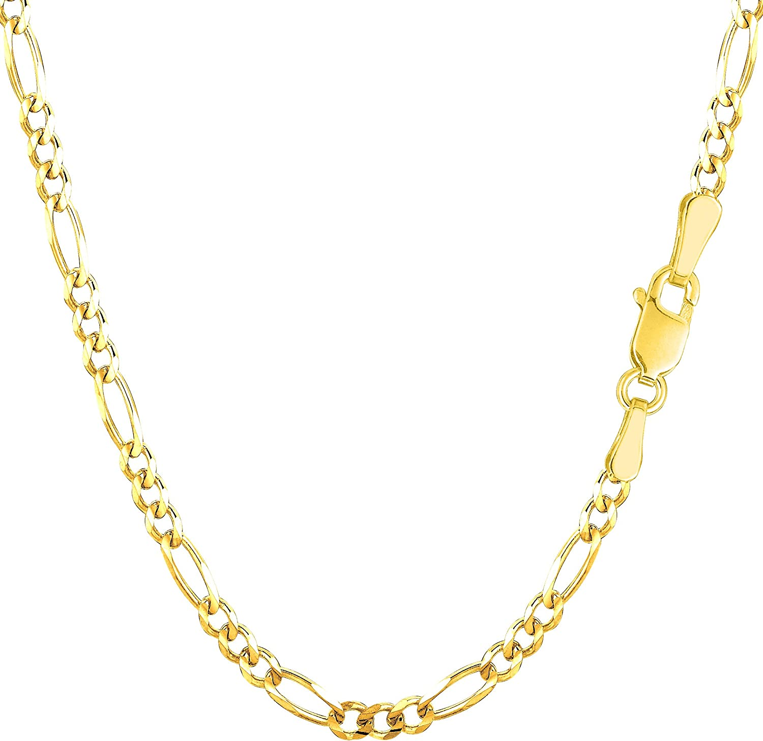 14k Yellow Solid Gold Figaro Chain Bracelet, 3.0mm