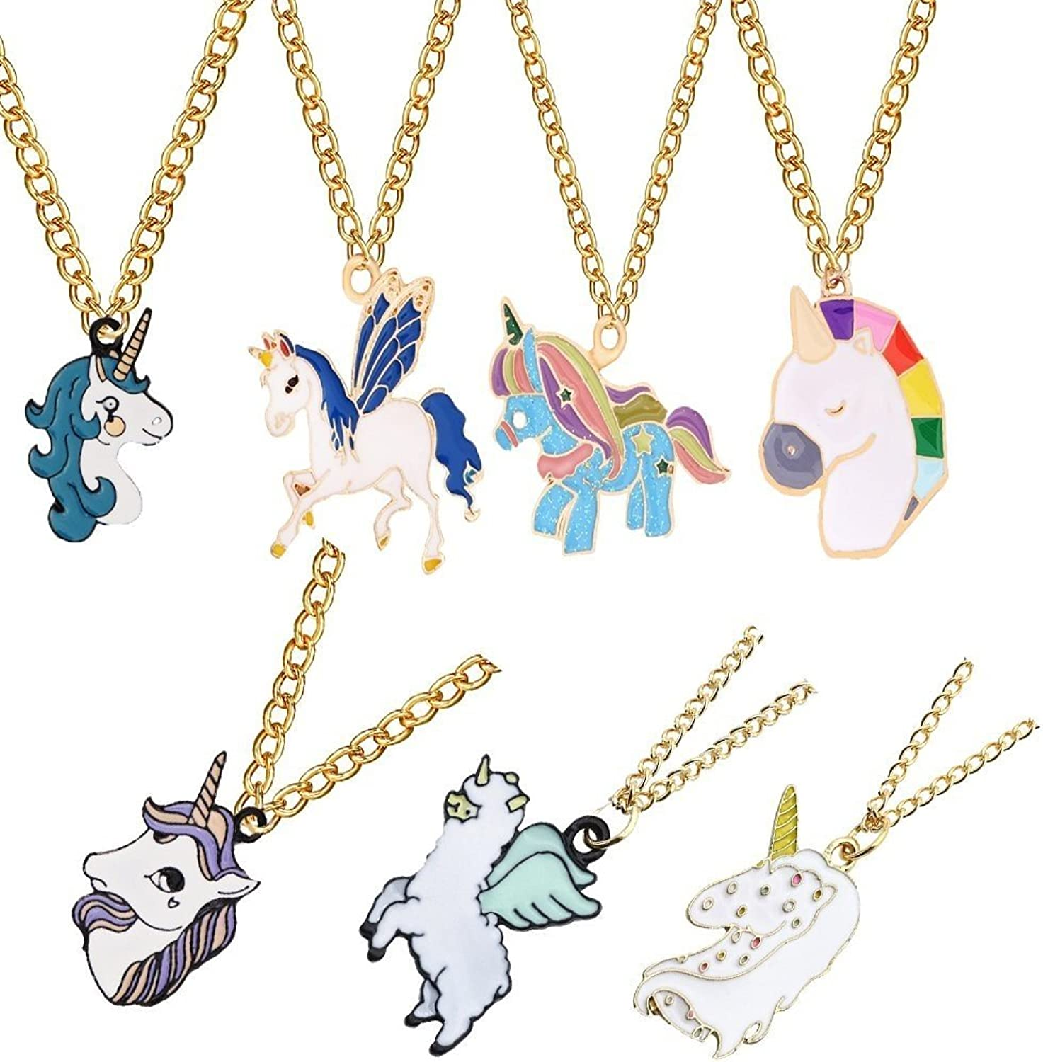 Rainbow Unicorn Necklace, LQQDD Metal Unicorn Party Favors Animal Necklace Birthday Party Supplies Party Games (7 Pack)