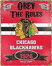 Supvivi 8×12 Chicago Blackhawks Tin Wall Sign Funny Iron Painting Vintage Metal Plaque Decoration Warning Sign Hanging Artwork Poster for Bar Café Park