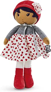 """Kaloo Tendresse My First Fabric Doll Jade K 12.5"""" Soft Plush Figure in Heart Pattern Skirt and Red Hat with Baby Safe Embroidered Face Machine Washable for Ages 0+"""