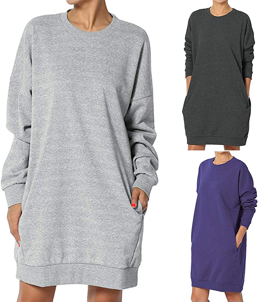 Lulupi Damen Pullover Kleider Lange Sweatshirt Sweatkleid Winter Pulli Casual Lose Pulloverkleid Minikleid Sweatjacke Einfarbig Langarmshirt Lila