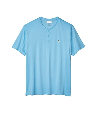Lacoste Short Sleeve Regular Fit Pima Henley (Barbeau Blue) Men