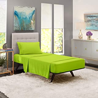 iBed Home Solid Bedding Set, Green, Single - 160 x 240 cm, FLTSNGL6, 2 Pieces