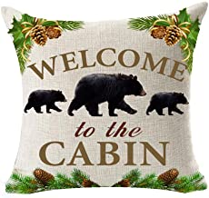 Andreannie Retro Vintage Background Wildlife Black Bear Family Welcome to The Cabin Cotton Linen Throw Pillowcase Personalized Cushion Cover New Home Office Decorative Square 18 X 18 Inches