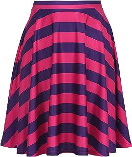 تنانير HDE للنساء - تنورة متوسطة الطول تنورة متزلج بطول الركبة مطبوعات مرحة عالية الخصر