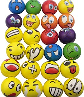 Mydio Set of 24 Emoji Stress Balls,Stress Reliver Party Favor,Soft PU Ball, Assorted Colors,Random Pattern,Party Toys,24 Pack