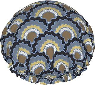 Dwuwarstwowa czapka prysznicowa, nowoczesna geometryczna tło monochromatyczny wzór z złamanymi liniami, wodoodporne elasty...