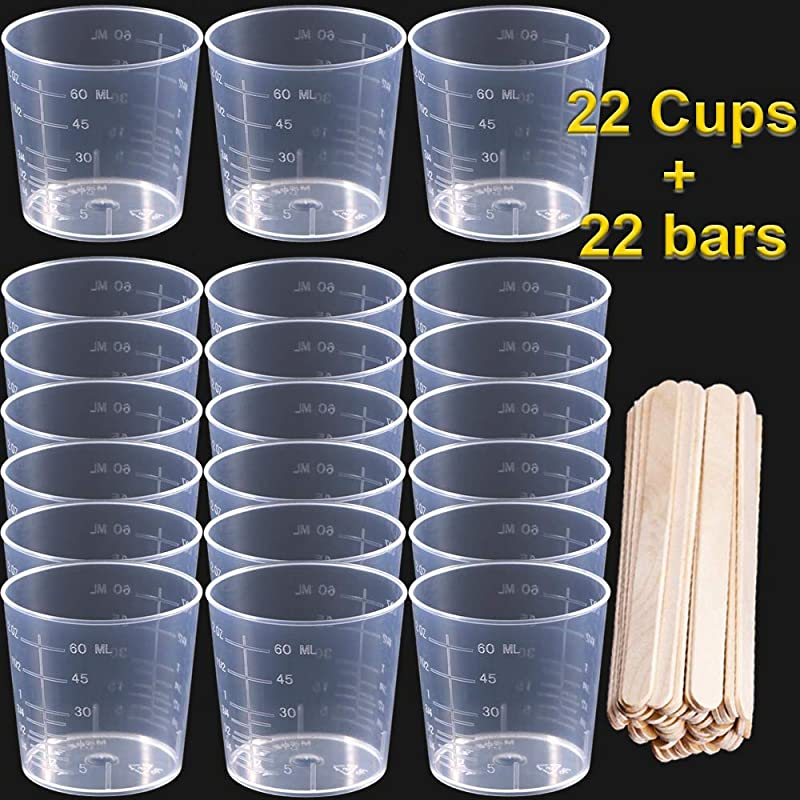 Y Axis 22 Pack 60ml Plastic Graduated Cups Transparent Scale Cups With 22 Pack Wooden Stirring Sticks For Mixing Paint Stain Epoxy Resin