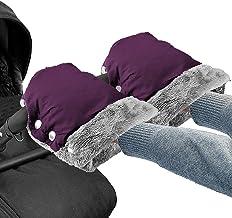 Handwärmer Kinderwagen Handschuhe Handmuff mit Warme Fleece Wasserdicht Winddicht Stroller Handmuff Universalgröße für Kinderwagen, Buggy, Radanhänger lila
