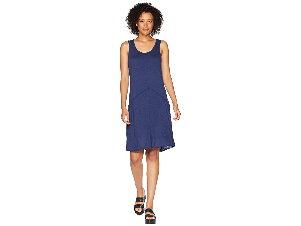 Mod-o-doc Featherweight Slub Jersey Raw Edge Seamed Tank Dress (New Navy) Women