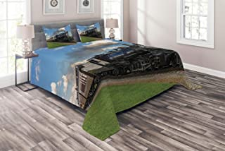 Ambesonne Steam Engine Coverlet, Vintage Locomotive in Countryside Scenery Green Grass Puff Train Picture, 3 Piece Decorative Quilted Bedspread Set with 2 Pillow Shams, Queen Size, Blue Green