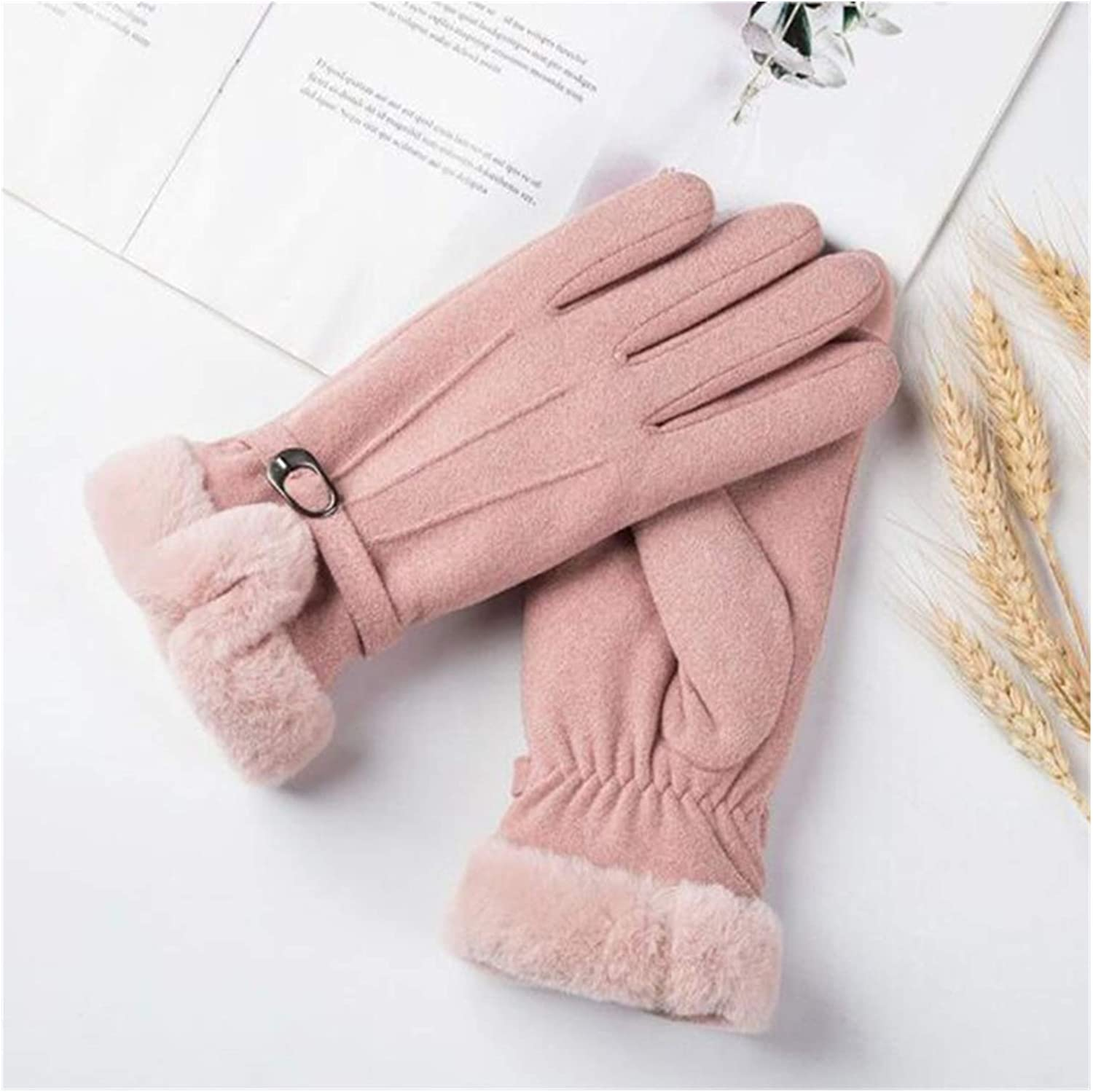 JBIVWW Winter Warm Fluff Gloves for Women Female Solid Color Full Finger Women Gloves Girls Student Mittens Thermo Handschoenen Guantes (Color : Pink)