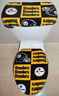 NFL PITTSBURGH STEELERS Block Fabric Toilet Seat Cover Set Bathroom Accessories