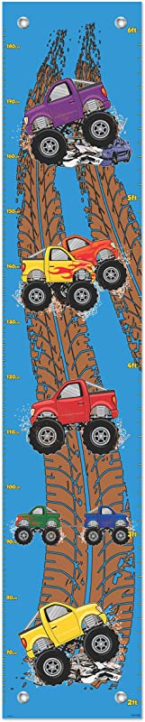 Kid Room Decor Monster Truck Growth Chart For Boys Measurement Chart Kids Mud Truck Growth Chart