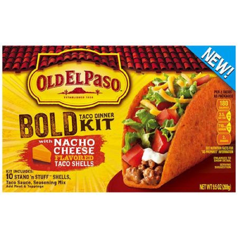 Old El Paso, Bold Taco Dinner Kit with Nacho Cheese Tacos, 9.5oz Box (Pack of 3)