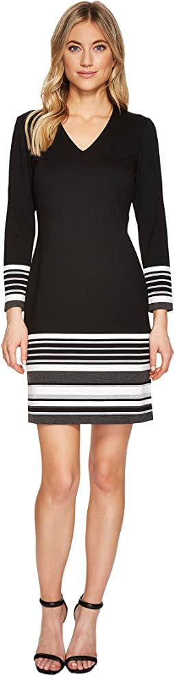 Calvin Klein - Striped Hem & Cuff Sleeved Dress CD7P29CR