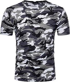 ESAILQ Camiseta de Camuflaje Hombre Militares Camisetas Deporte Ropa Deportiva Camisa de Manga Corta de Camuflaje Slim fit Casual para Hombres Tops
