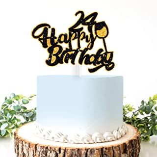 AERZETIX Birthday Decoration Happy 24th Birthday Cake Topper Wine Glass Sign Cheers to 24 Years Old Bday Party Decoration Present Supplies