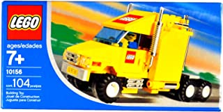 Lego Year 2004 Exclusive City Series Set #10156 - Yellow Truck with Shiny Chrome Exhaust Pipes, LEGO Logo and License Plate Stickers Plus Driver Minifigures (Total Pieces: 104)