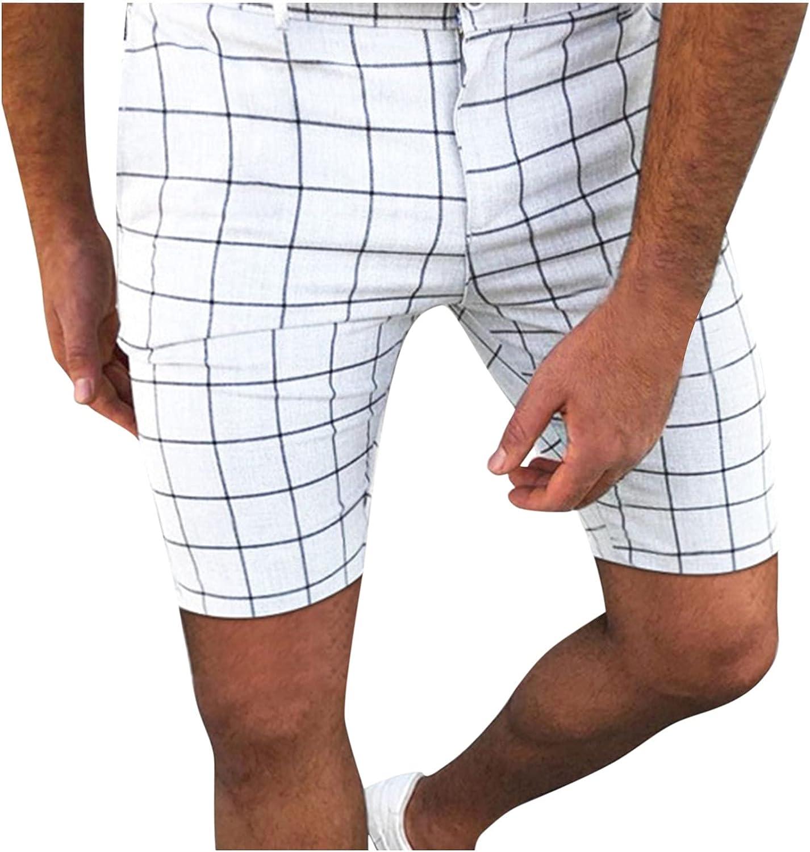 Mens Sweatpants, Men Dress Shorts Pants Plaid, Plaid Pencil Pants Flat Front Pants for Men Casual Business Pants