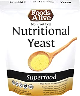 Foods Alive Nutritional Yeast Flakes Bulk 2-lbs   Non-Fortified, Plant Based Protein, Vegan Cheese Powder Substitute, Vers...