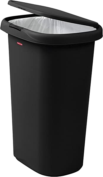 Rubbermaid Spring Top Lid Trash Can For Home Kitchen And Bathroom Garbage 13 Gallon Black