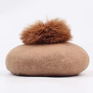 Lxy Painter Cap Wool hat Female Autumn and Winter Ball Tide Dome Beret hat Retro Plain Literature wk (Color : Camel, Size : M)