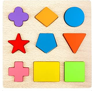 1 WisdKids Wooden Blocks Shape Puzzles Geometry Construction Games Imagination DIY Toys Early Development Educational Toys for Toddlers Preschool Sorter Sorting Plate Puzzles