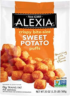 Alexia Crispy Bite-Size Sweet Potato Puffs, Non-GMO Ingredients, 20 oz (Frozen)