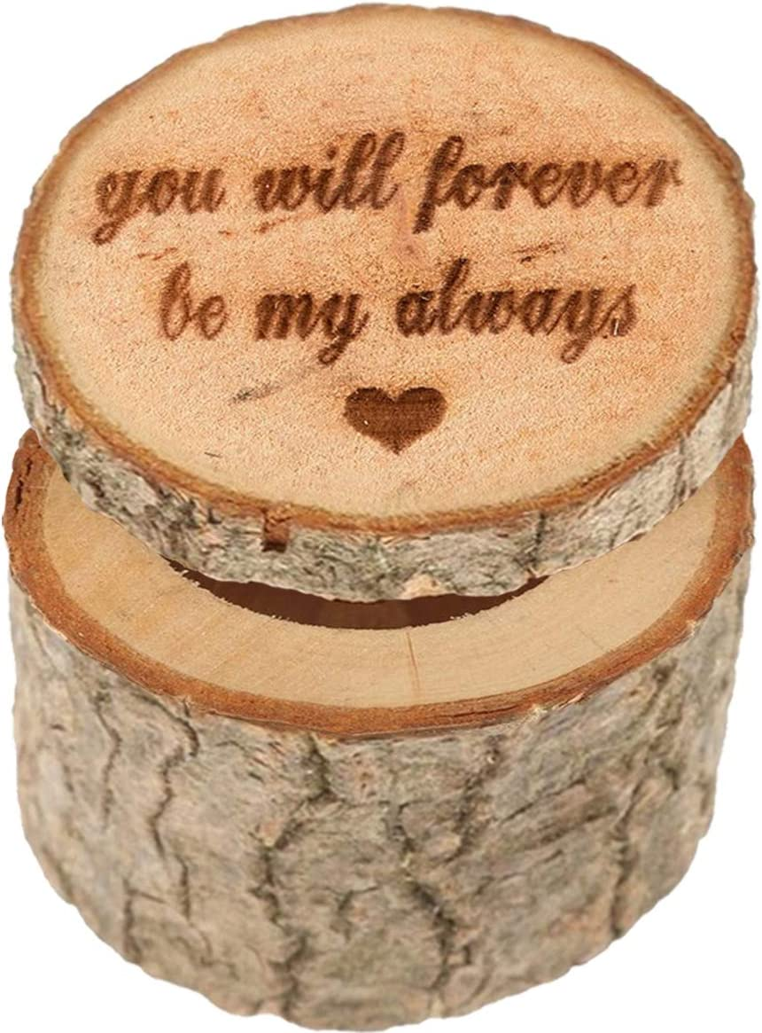 Fodattm Wooden Printed Personalized Rustic Ring Holder Box Jewelry Box Shabby Chic Wedding Ring Bearer Box