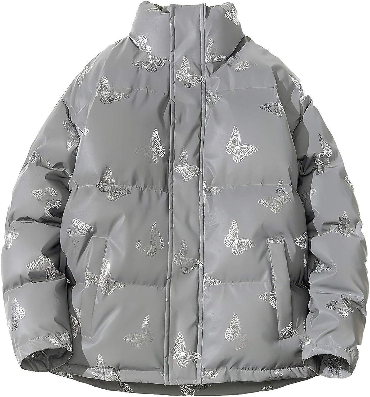 Pantete Womens Plus Size Jackets Shiny Puffer Jacket Winter Fashion Coat Butterfly Pattern Reflective