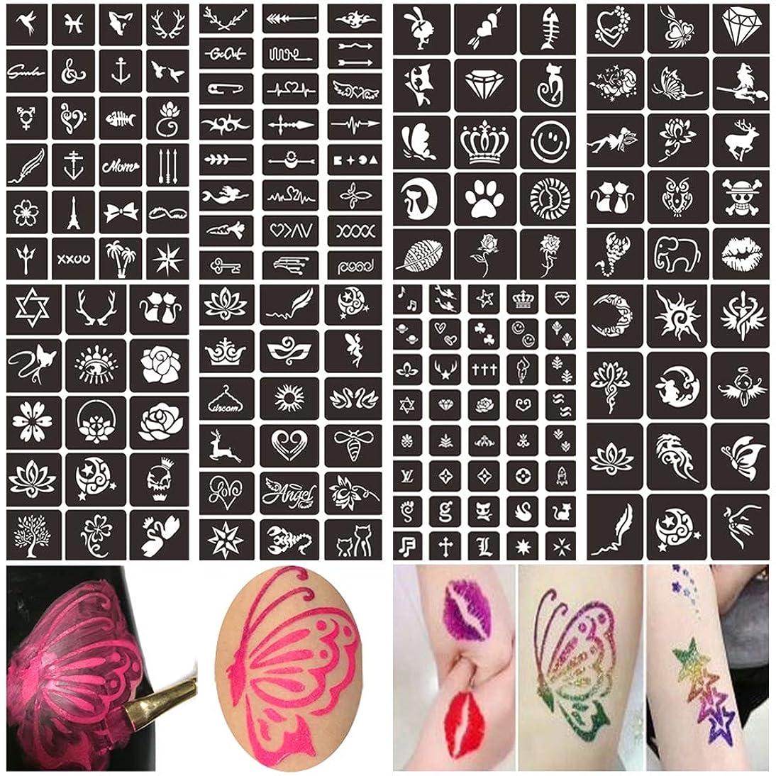 Henna Glitter Tattoo Stencils Kit, Face Body Painting Stencils, Temporary Tattoos Stencils for Kids, Adult & Teenagers (8 Sheets)