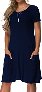 VOIANLIMO Women's Plus Size Casual Loose T Shirt Mini Dress with Pockets