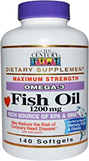 21st Century Fish Oil Omega 3-6 1200Mg Softgels 140 Count (2 Pack)