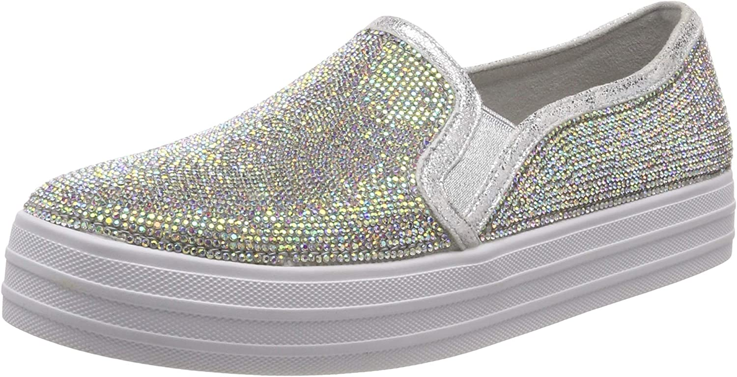 Skechers Womens Double Up - Blinders All Over Small Rhinestone Twin Gore Slip On shoes