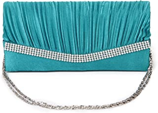 IPOTCH Women Satin Crystal Floral Evening Prom Clutch Bag Wedding Bridal Handbag Purse - Turquoise, as described