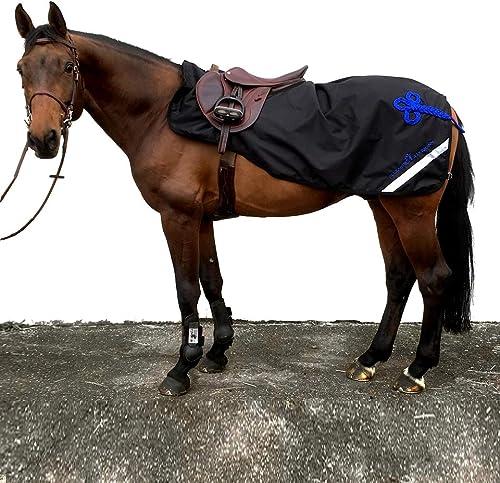 Alexandra Lederhommen Sportswear Couvre-Reins Cheval Impermeable avec Doubleure Polaire Noir & Bleu Roi