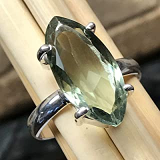Natural 6ct Green Amethyst 925 Solid Sterling Silver Ring Size 9.25