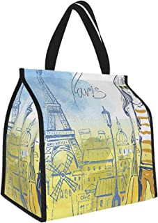 Paris Paris Theme Eiffel Tower and Hand Drawn Vintage Picture of Stylish Girl Yellow Slate Blue Picnic Freezer Bag,Bag Pic...